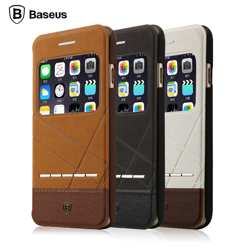 iPhone 6 BROWN Unique Leather Case with Holder and Call Display Window