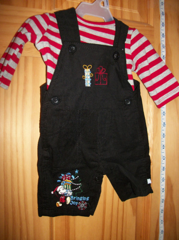 Disney Mickey Baby Clothes Set Christmas Holiday Mouse Overall Top Newborn Shirt