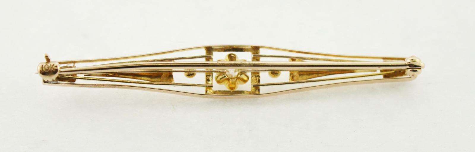 10K Rose & Yellow Gold Antique Estate Diamond Broach
