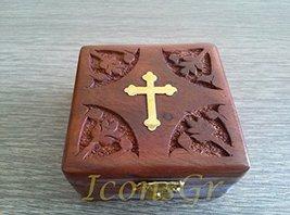 Handmade Christian Orthodox Wooden Olive Wood Storage Box with Decorative Cro... - $29.30