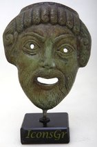 Ancient Greek Bronze Museum Statue Replica of Theatrical Mask of Tragedy (1425) - $71.74
