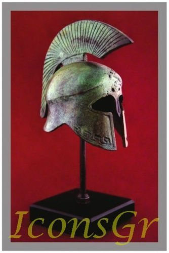 ANCIENT GREEK BRONZE MUSEUM REPLICA OF SPARTAN HELMET ON A BASE (1367-1)