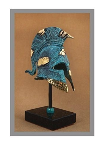 Ancient Greek Bronze Museum Replica of Athenian Helmet on a Base (369-1)
