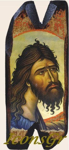 Wooden Greek Christian Orthodox Wood Icon of Saint John the Baptist / N12