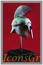 Ancient Greek Bronze Museum Replica of Spartan Helmet on a Base (1368-1) - $142.20