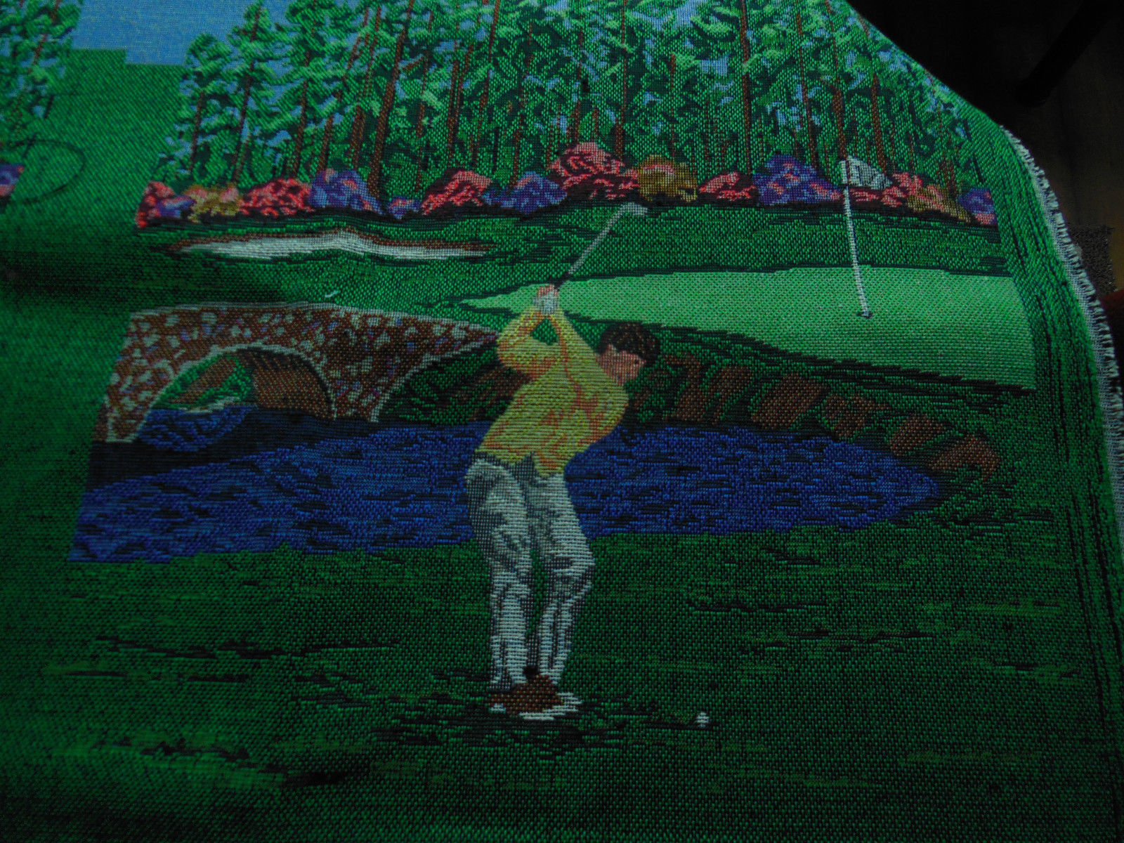 "Golf Scene Tapestry Fabric  Landscape 37"" X 55"" has 6 squares pillows, chairs,,"