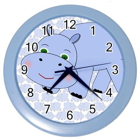 Hippo clock blue