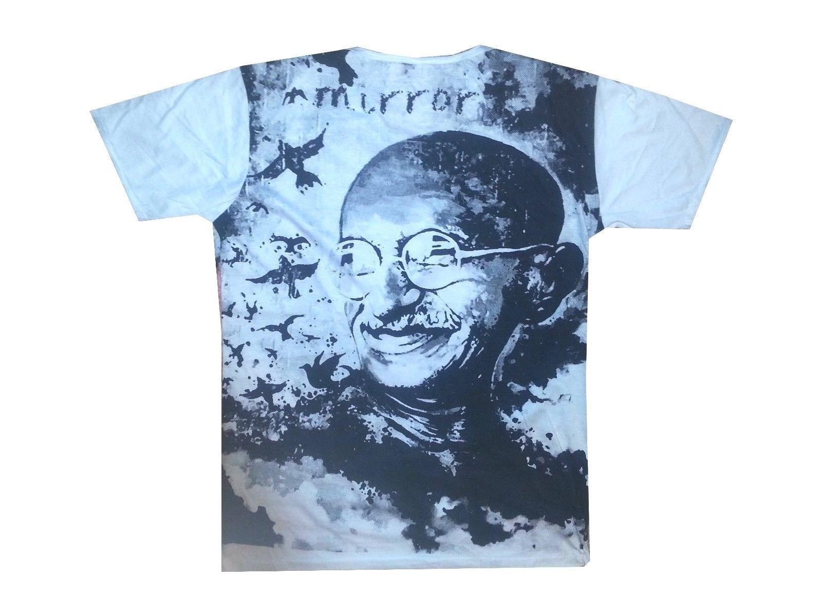 A2 Men T Shirt HINDU Mahatma Gandhi INDIA Peace Hobo Boho L MIRROR cotton buy
