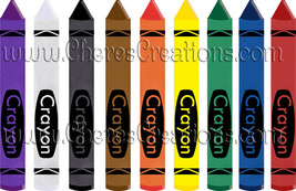 Crayons Digital Clip Art for Digital Scap Booking Scrapbooking Crafts - $1.75