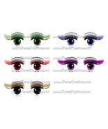 Female Eyes Digital Clip Art Sheet Free Animated Female Eyes Name Tag - $1.75