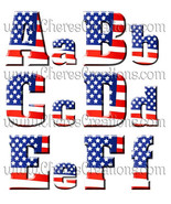 Red White & Blue Flag Digital Alphabet - $1.75