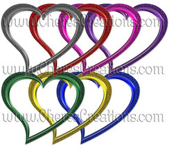 Digital Heart Frames for Scrap Booking Crafts Scrapbooking - $1.75
