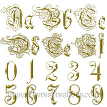 Fancy Golden or Silver Alphabet Digital Scrapbook Kit - $1.75+