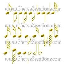 Golden Digital Music Clipart for Digital Scap B... - $1.75