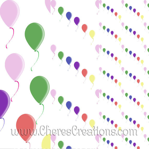 Party Balloon Digital Clipart for Digital Scap Booking Scrapbooking Craft