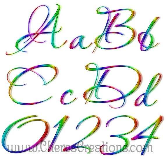 Neon Rainbow Alphabet for Digital Scap Booking
