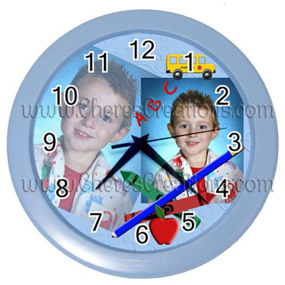 """School Wall Clock 10"""" Diameter Plastic Frame and Face Cover Choice of 5 Colors"""