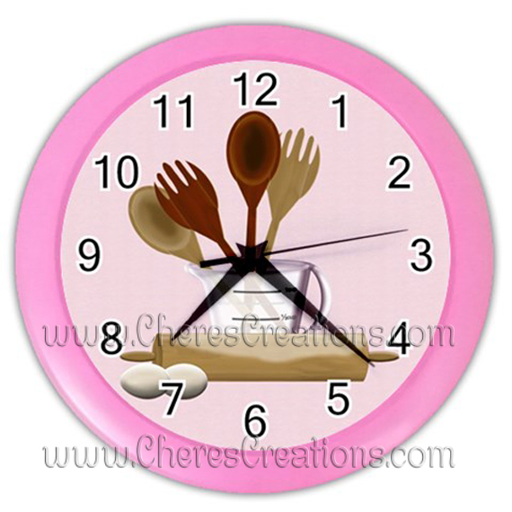 """Kitchen Wall Clock 10"""" Diameter Plastic Frame and Face Cover Choice of 5 Colors"""