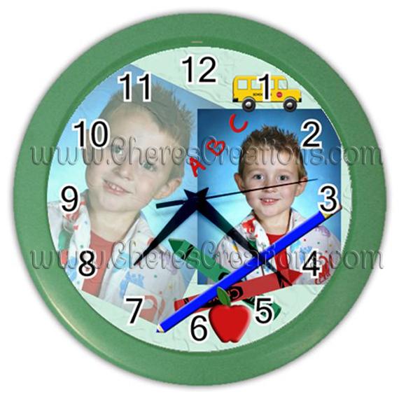 School clock green