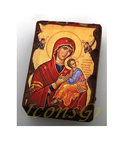 Wooden Greek Christian Orthodox Small Lithography Wood Icon A5 [Kitchen]