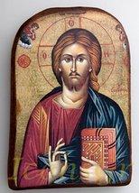 Wooden Greek Christian Orthodox Wood Icon of Jesus Christ /Mp2_5 - $11.66