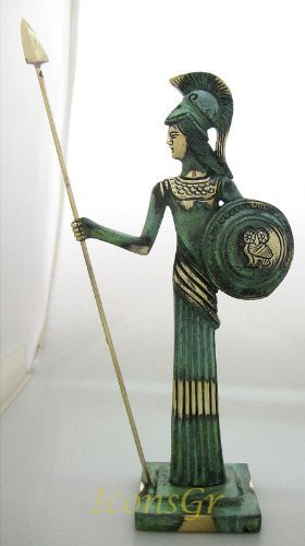 Ancient Greek Bronze Museum Statue Replica of Athena with Spear and Shield (101)