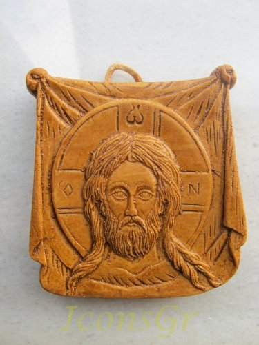 Handmade Carved Aromatic Wax Icon Blessed From Mount Athos of Holy Mandylion 123