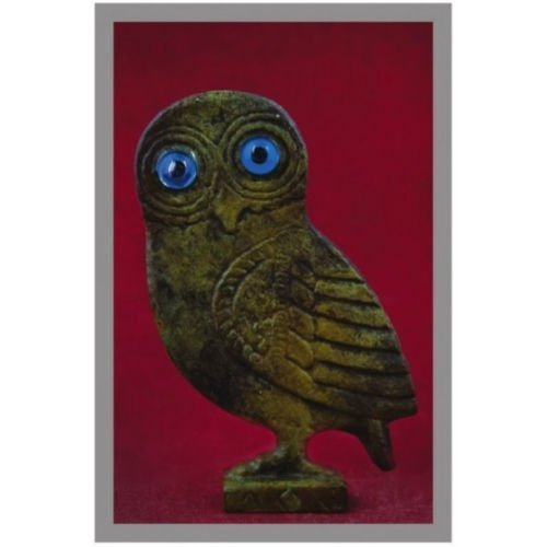 Ancient Greek Bronze Museum Statue Replica of Owl on a Podium (1511) [Kitchen]