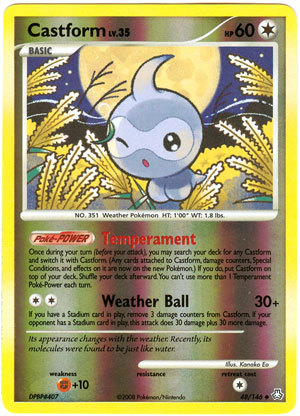 Castform 48 reverse holo uncommon legends awakened