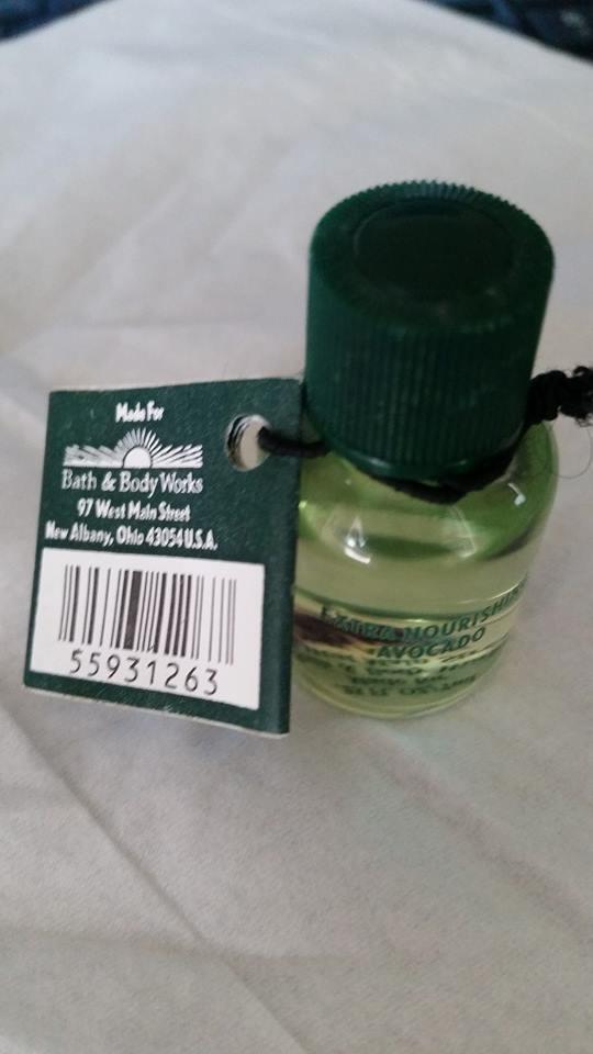 Bath & Body Works Extra Nourishing Avocado Botanical Blend .25 oz ` Very Rare