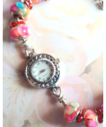 European Beaded Red and Pink Watch Silver Plate... - $20.00