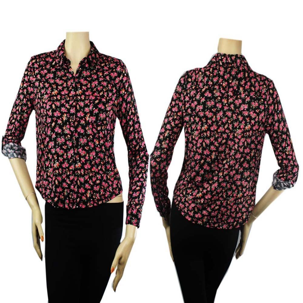Flower Print Collar,Adjust Arms Blouse w/ Button,Pocket Cute Casual Y-Shirts SML
