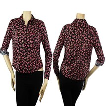 Flower Print Collar,Adjust Arms Blouse w/ Button,Pocket Cute Casual Y-Sh... - $15.99