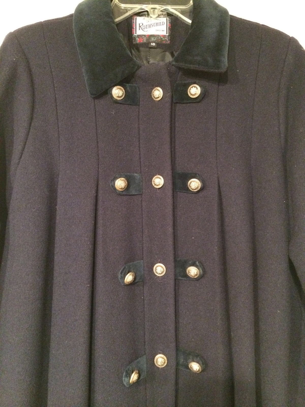 Tailored by Rothschild Authentic Vintage 100% wool Navy Blue Gold Pleat Military