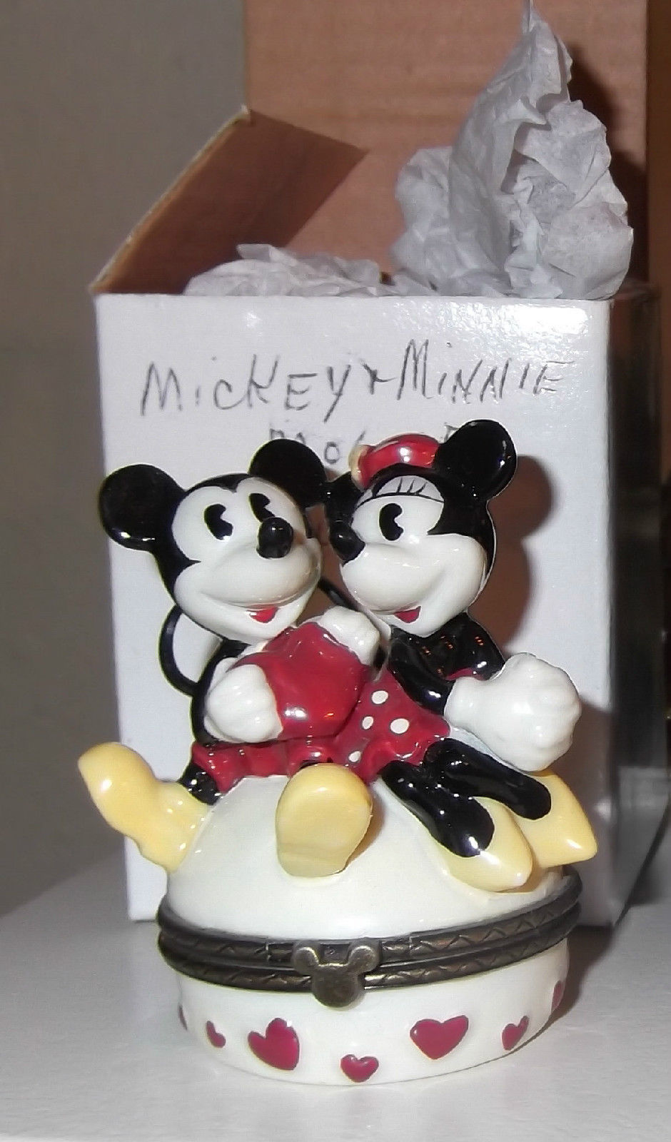 Mickey Mouse Minnie Mouse Pluto PHB Disney Porcelain Hinged Boxes set of 4