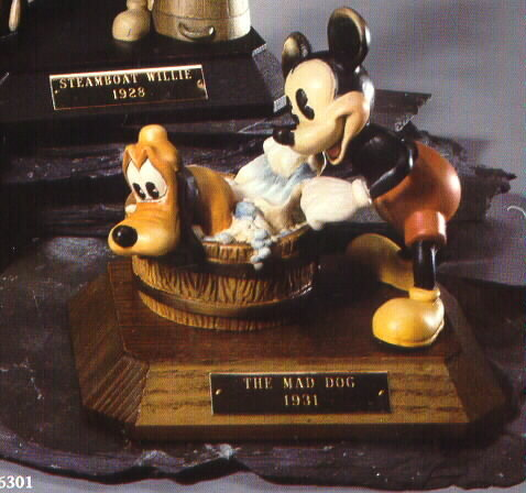 Disney Mad Dog Mickey & Pluto Anri Wood Carving Limited Edition Italy