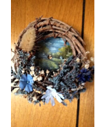Collectible Hand Painted Summer Mini Sawblade Wreath No 2 Blue Flowers W... - $16.00