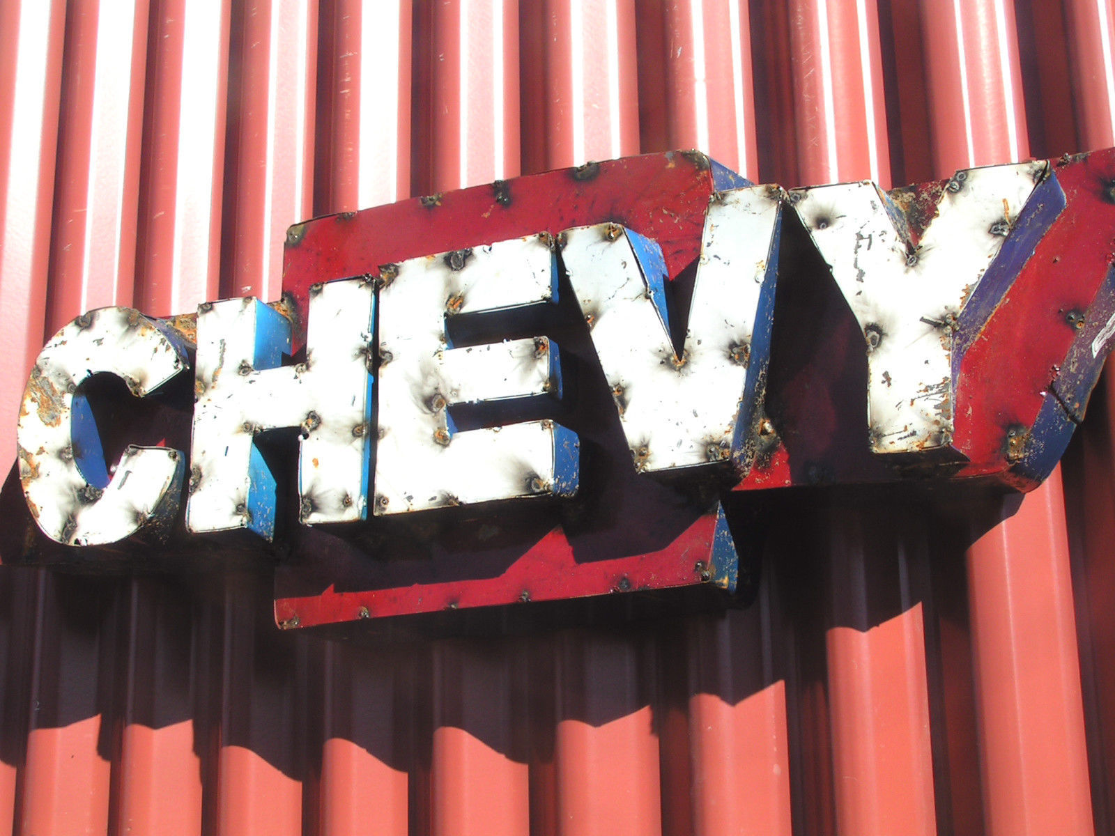 Junk Iron Chevy sign Metal Art man cave work shop or party room 3-D 0519
