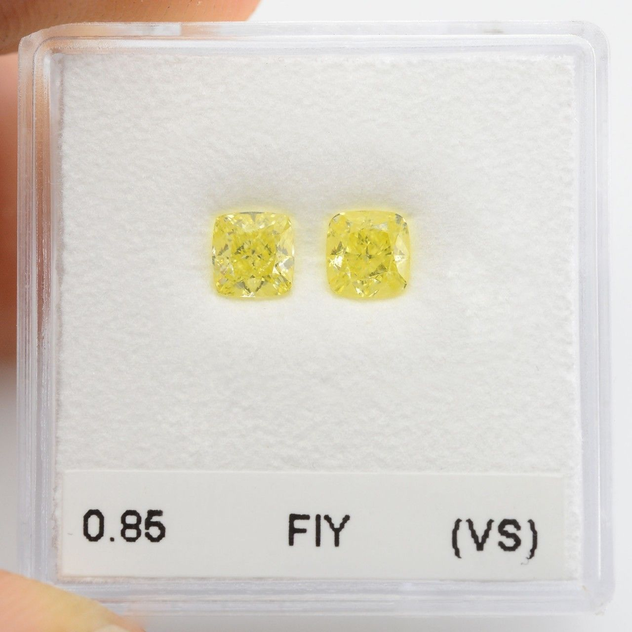 0.85 Carat Fancy Intense Yellow Loose Diamond Natural Color Cushion Cut Pair