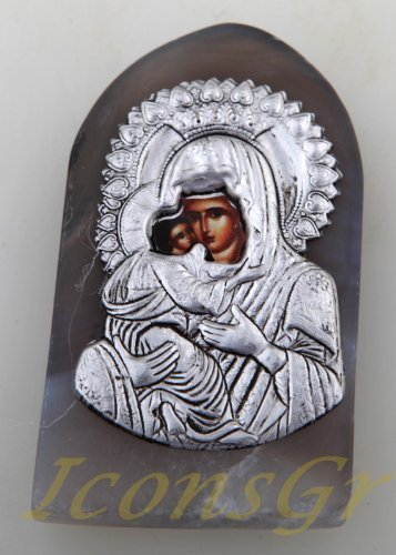 Christian Orthodox Greek Religious Oval Agate Magnet / Icon of Mother of Jesus_1