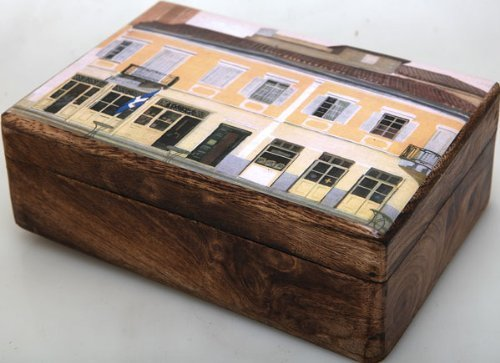 Handmade Greek Wooden Wood Box with a Building in Plaka Athens / R33 [Kitchen]