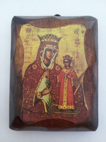 Wooden Greek Christian Orthodox Small Lithography Wood Icon A5/1