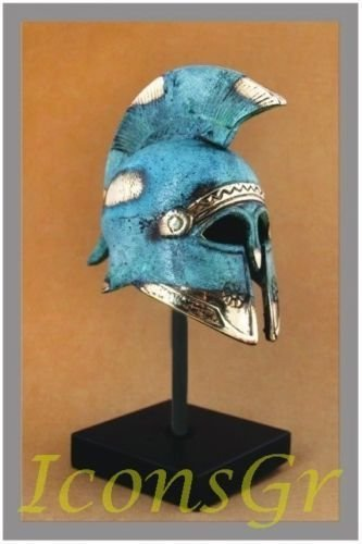 Ancient Greek Bronze Museum Replica of Cretan Helmet on a Base (365-1) [Kitchen]
