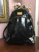 Michael Kors Backpack Bag Jet Set Nickel Black Patent Leather 30T5MTTB3Z... - $120.93
