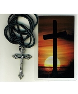 Corded Necklace with Crucifix - Cruz Santa in Spanish - LH55.0497 - $6.99