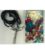 Corded Necklace with Crucifix - Santisima Trinidad in Spanish - LH55.0002 - $6.99