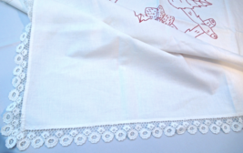 "1880's Antique 36"" Sq Tablecloth; Redwork Embroidery; Lace Trim #4972 - $24.99"