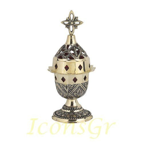 Greek Christian Orthodox Bronze Table Oil Lamp - 8831b