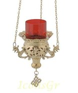 Greek Christian Orthodox Bronze Oil Lamp with Chain - 9692b - $112.70