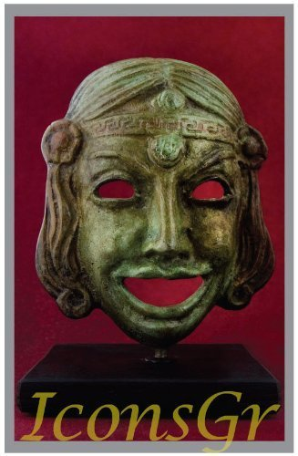 Ancient Greek Bronze Museum Statue Replica of Theatrical Mask of Comedy (1410)